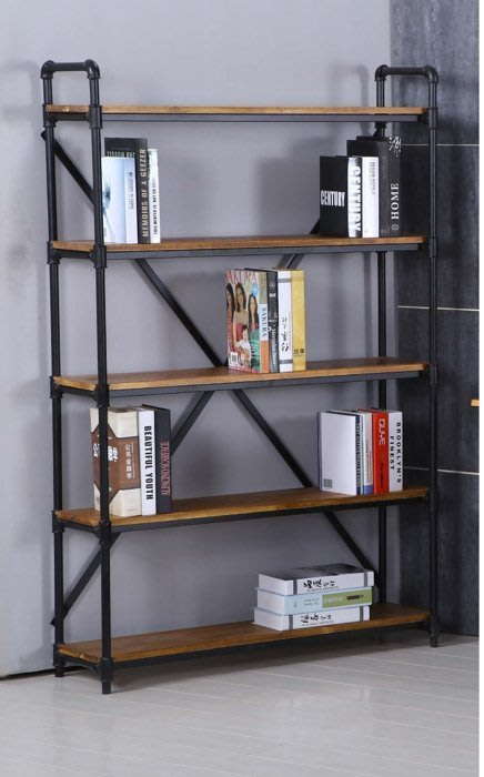 loft美式鄉村風格復古鐵藝水管書架鐵木置物架隔板展示貨架書架