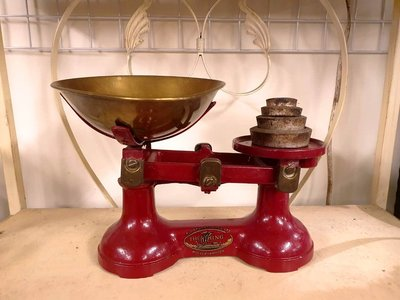 { Ruminant 慕名古物 } 英國THE VIKING紅色黃銅老磅秤/等臂式天秤附砝碼