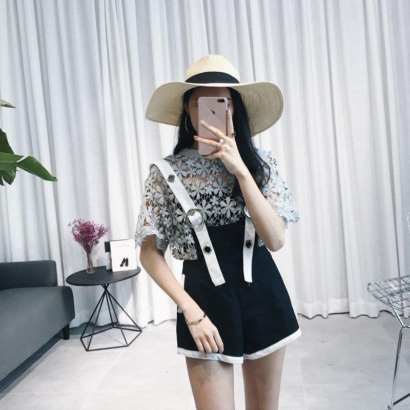 透視蕾絲衫+背帶褲兩件套女春裝2018新款韓版甜美氣質時髦套裝潮