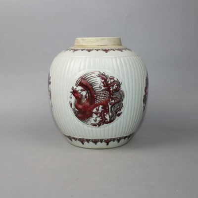 ㊣三顧茅廬㊣ 清釉裡紅龍鳳瓜淩罐釉下彩全手工制青花雙圈款古玩古董收藏