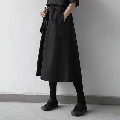 Dark.Q K2 黑色A字半裙小黑裙