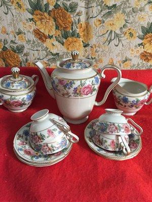 德國製手繪花茶杯組共七件A17
