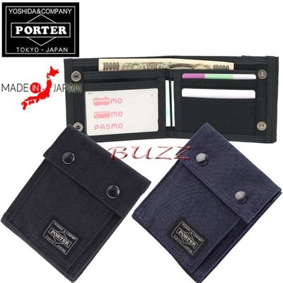 巴斯 日標PORTER屋-黑色 藍色現貨 PORTER SMOKY 縱型皮夾-短夾 592-06333