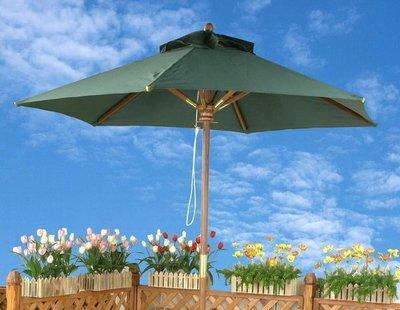 [尚霖傢俱館] 戶外休閒遮陽傘含銅套{ OD-210001} 南洋實木庭園傘 7尺-墨綠