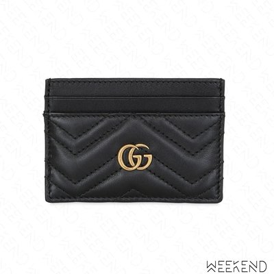 【WEEKEND】 GUCCI GG Marmont 皮革 卡夾 黑色 443127