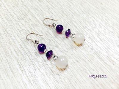 晶透紫晶白玉垂墜式耳環925純銀耳勾/氣質優雅 手作飾品 原創設計 禮物