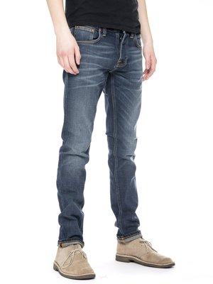 NUDIE GRIM TIM revelation blue 深藍 刷白 合身 窄管 牛仔 丹寧 牛仔褲 長褲