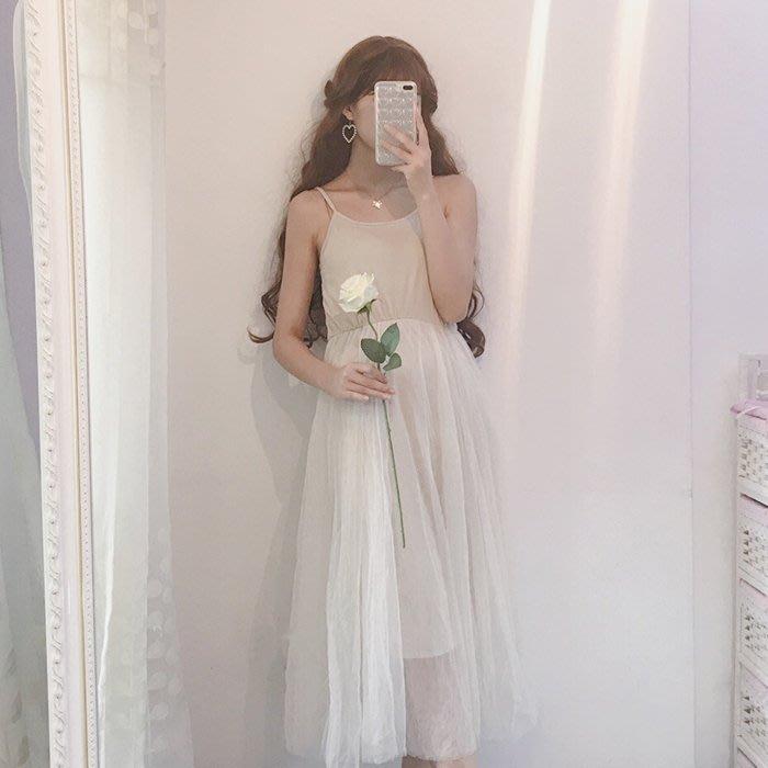 2018新款韓版一字肩吊帶中長款打底長裙網紗裙仙女蓬蓬連衣裙女夏