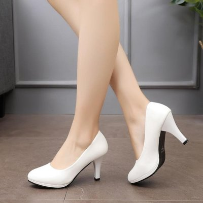 細跟高跟鞋 舒適正裝禮儀職業女鞋學生面試黑色高跟鞋中跟空乘工作鞋女單皮鞋 〖新生活〗