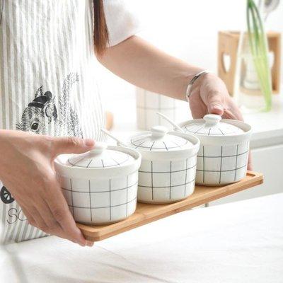 油壺廚房陶瓷調料罐套裝家用三角套調味瓶鹽糖收納罐佐味料盒調料罐   全館免運