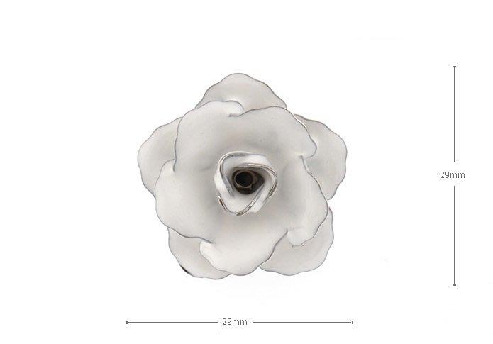☆TA精品☆ 男士精品-白色玫瑰花 胸針 260090