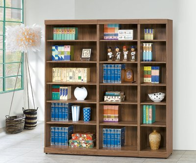 【南洋風休閒傢俱】書架 書櫃 書櫥 展示櫃 收納櫃 造形櫃 置物櫃系列-胡桃2*6尺開放書櫃CY410-823