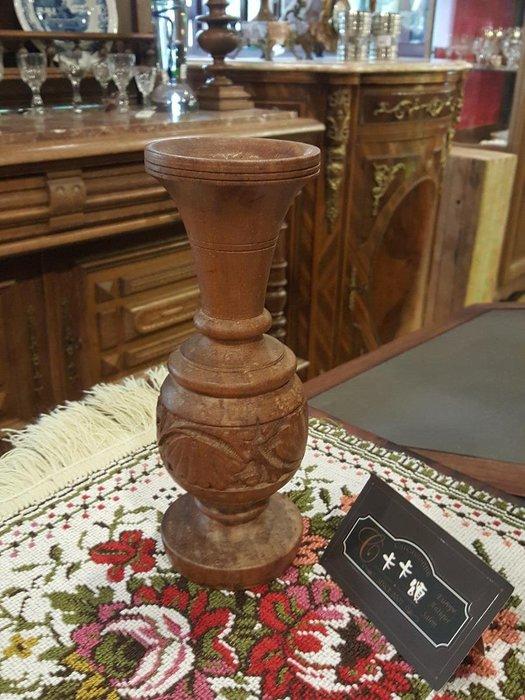 【卡卡頌 歐洲跳蚤市場/歐洲古董】歐洲老件_手工木雕花瓶 擺飾 木藝品 木瓶 w0134 提供租借✬