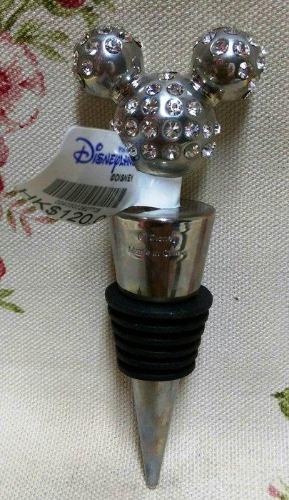 龍廬-自藏二手出清~金屬製品-Disney香港迪士尼黏鑽米奇頭造型金屬瓶塞/只有一個
