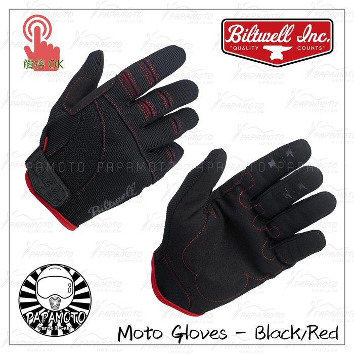 Biltwell:Moto Gloves 騎士手套 - 黑紅款 (布手套 夏季手套 機車手套 觸控功能