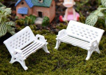 新品上市#白色長椅 公園 座椅子 苔蘚多肉微景觀生態瓶配件 裝飾素材小擺件