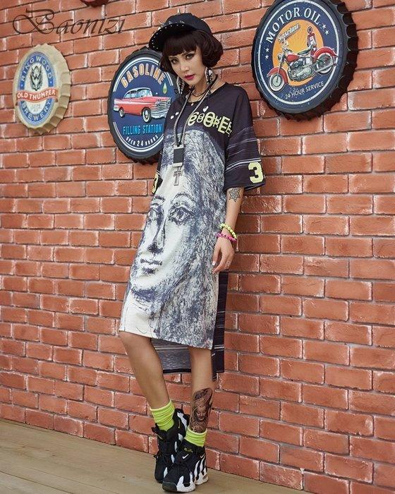 《現貨》Oversize 303210  中大尺碼 運動休閒T恤裙 抽象誇張撞色設計 寬鬆舒適 Baonizi 寶妮子