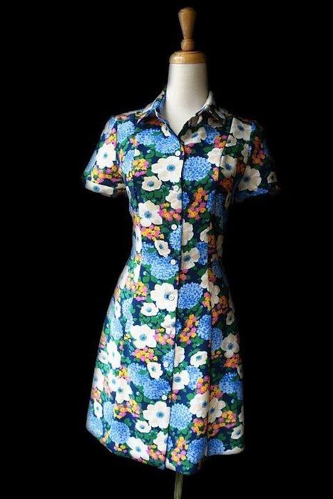 *Beauty*CARVEN藍色花花短袖洋裝 34號 WE17 加圖