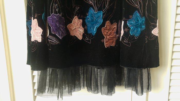 BCBG 深棕色絲絨花朵貼花刺繡細肩帶下擺蕾絲洋裝