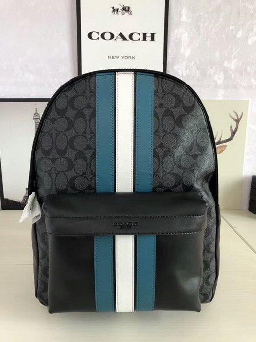 COACH 26066 新款男士雙肩包 PVC配皮材質 豎條紋拼色 後背包 旅行包 大容量