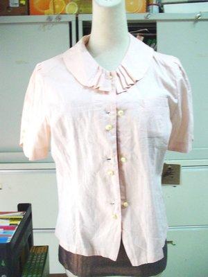 COMFORTABLE 麻混上衣 棉70%  JAPAN MADE NEW 橘粉色