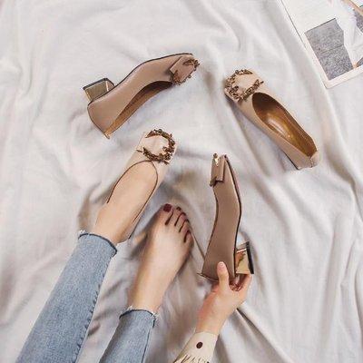 軟皮單鞋女溫柔鞋子新款秋淺口