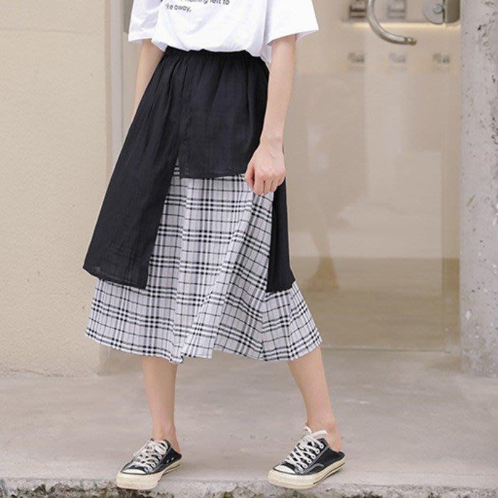 SeyeS 日系個性格紋拼接設計感A字裙