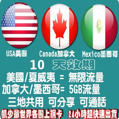 【帆少爺上網卡】方案1 美國 夏威夷無限流量+ 加拿大 墨西哥 5GB流量  10 天效期可分享+打當地電話
