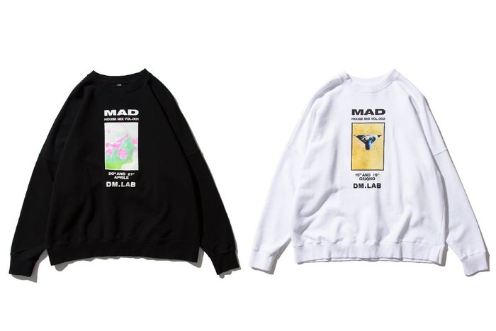 { POISON } DeMarcoLab MAD HOUSE MIX SWEATER 獨家掉肩剪裁 寬型大學TEE