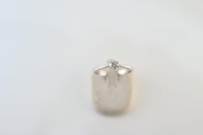 [吉宏精品交流中心]30分 天然鑽石 六爪 白K金 戒指(附證書)