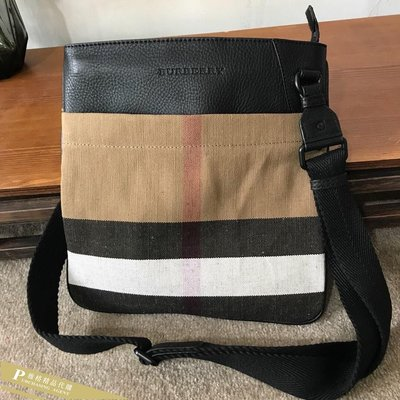 雅格精品代購 Burberry 巴寶莉 英倫風格時尚 新款格紋郵差包 斜背包 美國outlet代購