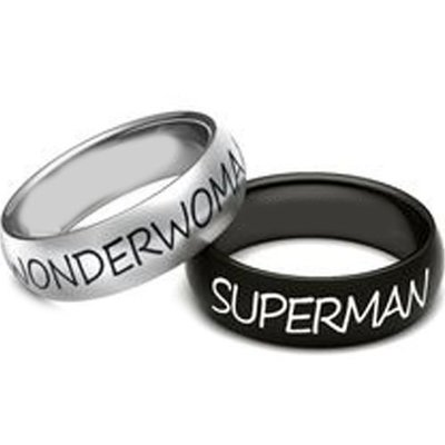 coi jewelry tungsten carbide wonder woman or superman wedding band ring 戒指
