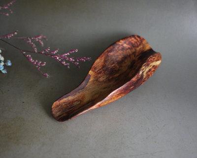 越南黃花梨 - 茶則   全手工  虎皮山水紋 ~ 無漆 無蠟  580