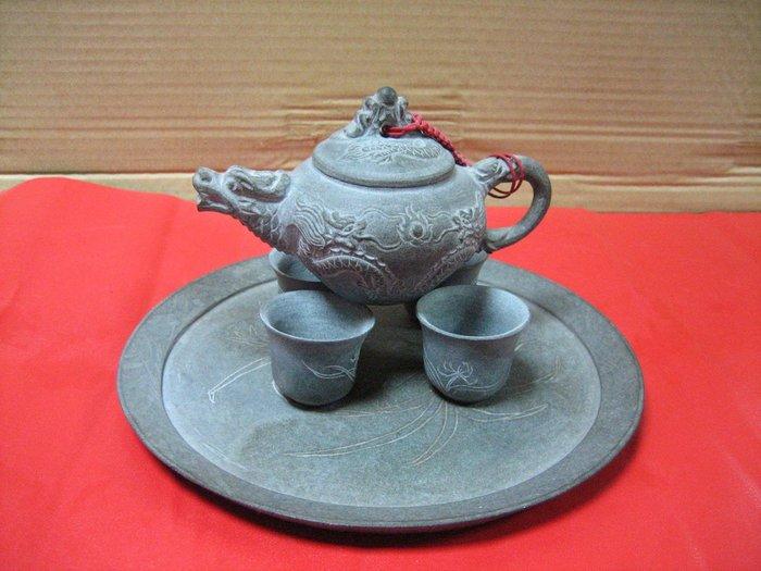 早期-青斗石雕-雙龍茶具組---