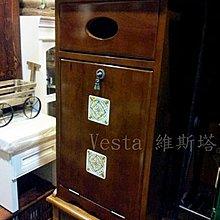 *Vesta 維斯塔*鄉村風 / 磁磚實木前拉式垃圾櫃 / 垃圾桶