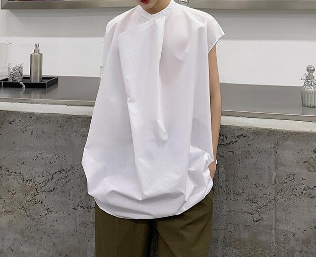 FINDSENSE 品牌 2019 春季 新款 寬鬆  潮流  個性 社會 男青年  無袖  免燙 襯衫 黑白 不規則