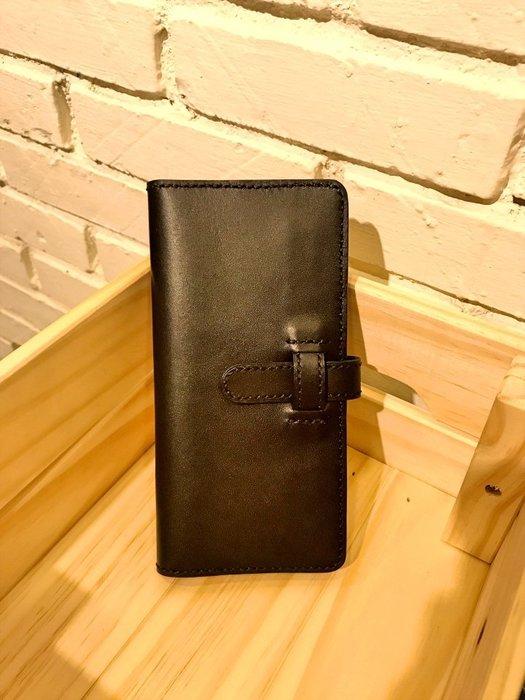 【IAN X EL】黑色真皮插銷二折式長夾 純手工皮件 提供免費刻印字服務