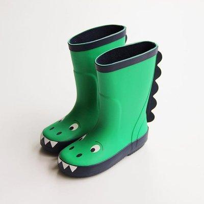 卡通橡膠兒童雨鞋 萌小動物雨靴 綠恐龍 【樂購大賣家】