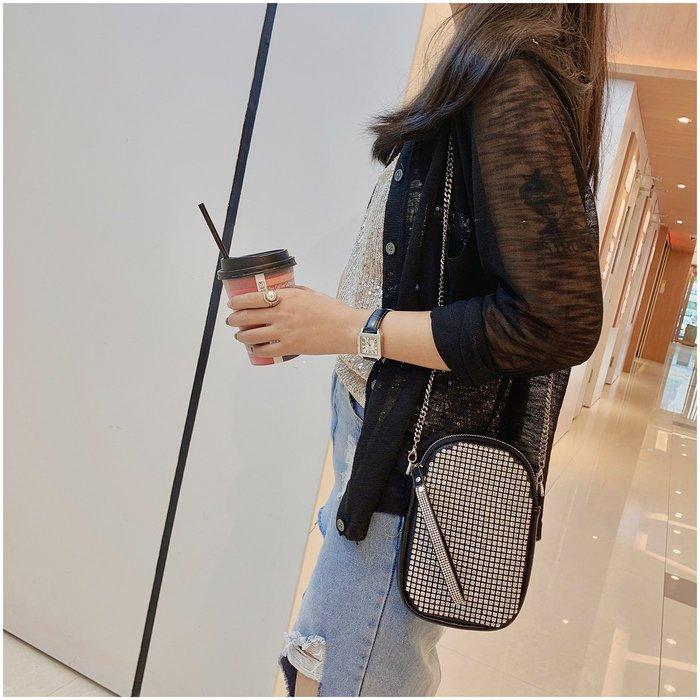 FINDSENSE X 韓國 女士 時尚鑽石 小挎包 百搭 小方包 單肩包 手機包