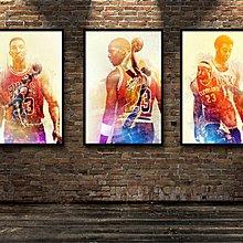 籃球裝飾畫NBA全明星復古科比勒布朗水墨喬丹里芬戴維斯(不含框)