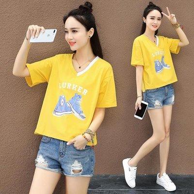 夏天心機V領T恤女短款2019新款丅恤韓版寬鬆學生ins小眾半袖上衣