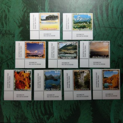 【大三元】紐澳郵票-037紐西蘭 --庫克山-新票9全邊角1套-原膠上品