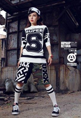 BOUNCING ACE嘻哈hiphop街舞寬松迷彩中褲潮人拼接五分女褲
