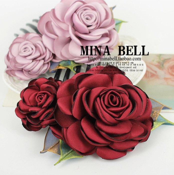 新款發飾 厚緞燒邊 仿真花 玫瑰 牡丹花 大七齒發梳 發插梳sys