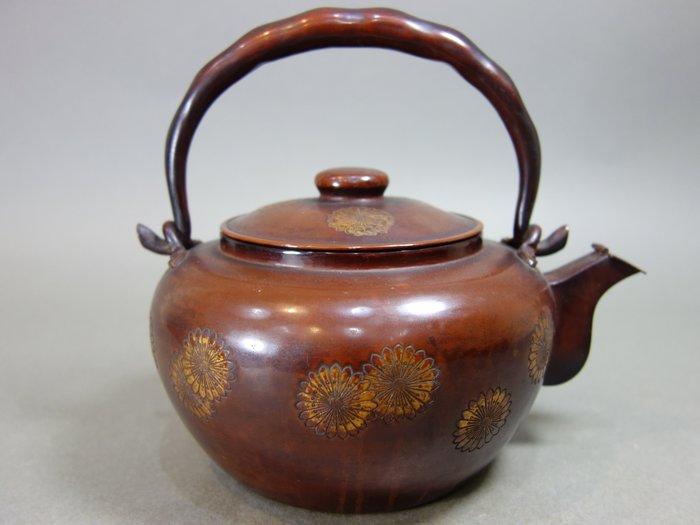 『華寶軒』日本茶道具 昭和時期 銅製手打 豆莢把 向日葵紋飾 銅壺水注