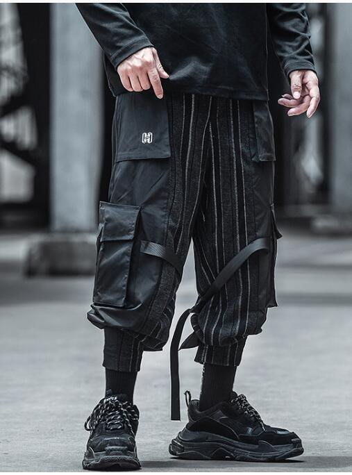FINDSENSE X 男士 機能工裝褲男束腳寬松夏季休閑百搭黑色多口袋