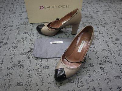 義大利製  L'AUTRE CHOSE 高級雙色真皮粗跟鞋 EUR 36.5 USA 6 JPN 23 CM