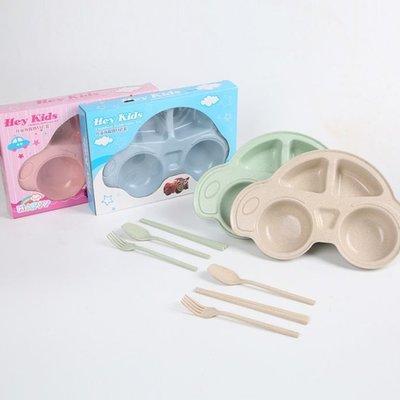 愛雜貨 盒裝 汽車餐盤組 含餐具 兒童餐具  生日 湯匙 筷子 叉子 碗 餐盤