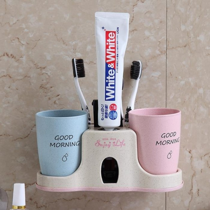 小麥全自動擠牙膏器套裝吸壁掛式免打孔懶人牙膏擠壓器牙刷置物架 st676