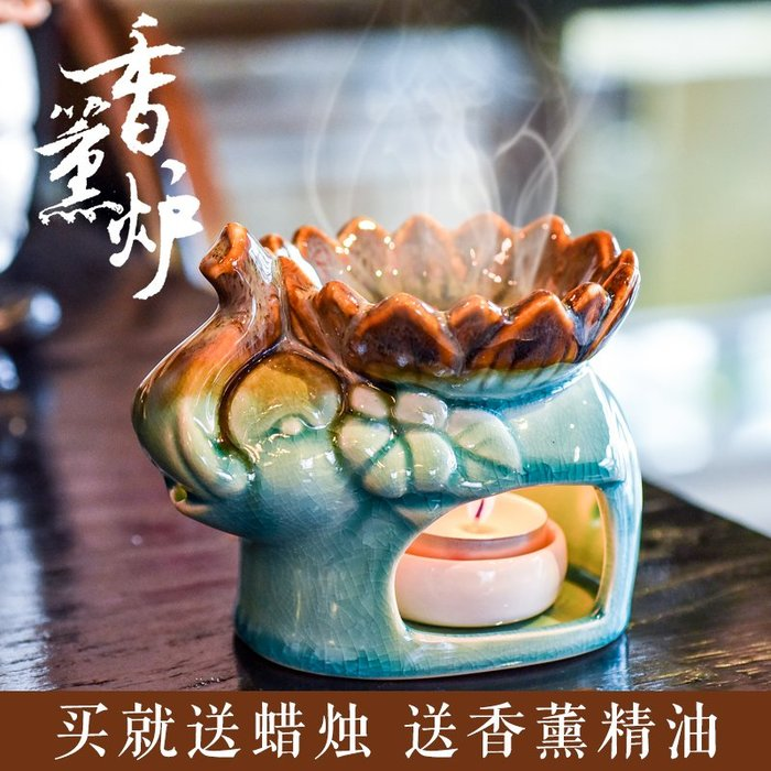 888利是鋪-蠟燭香薰燈精油爐陶瓷大容量美容院臥室內家居創意熏香爐送蠟燭托